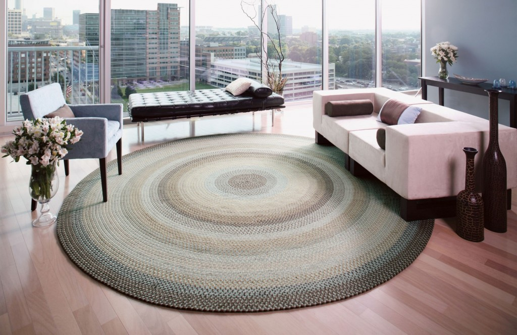 braided rug in modern space
