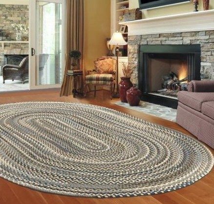 traditional braided rug muted colors